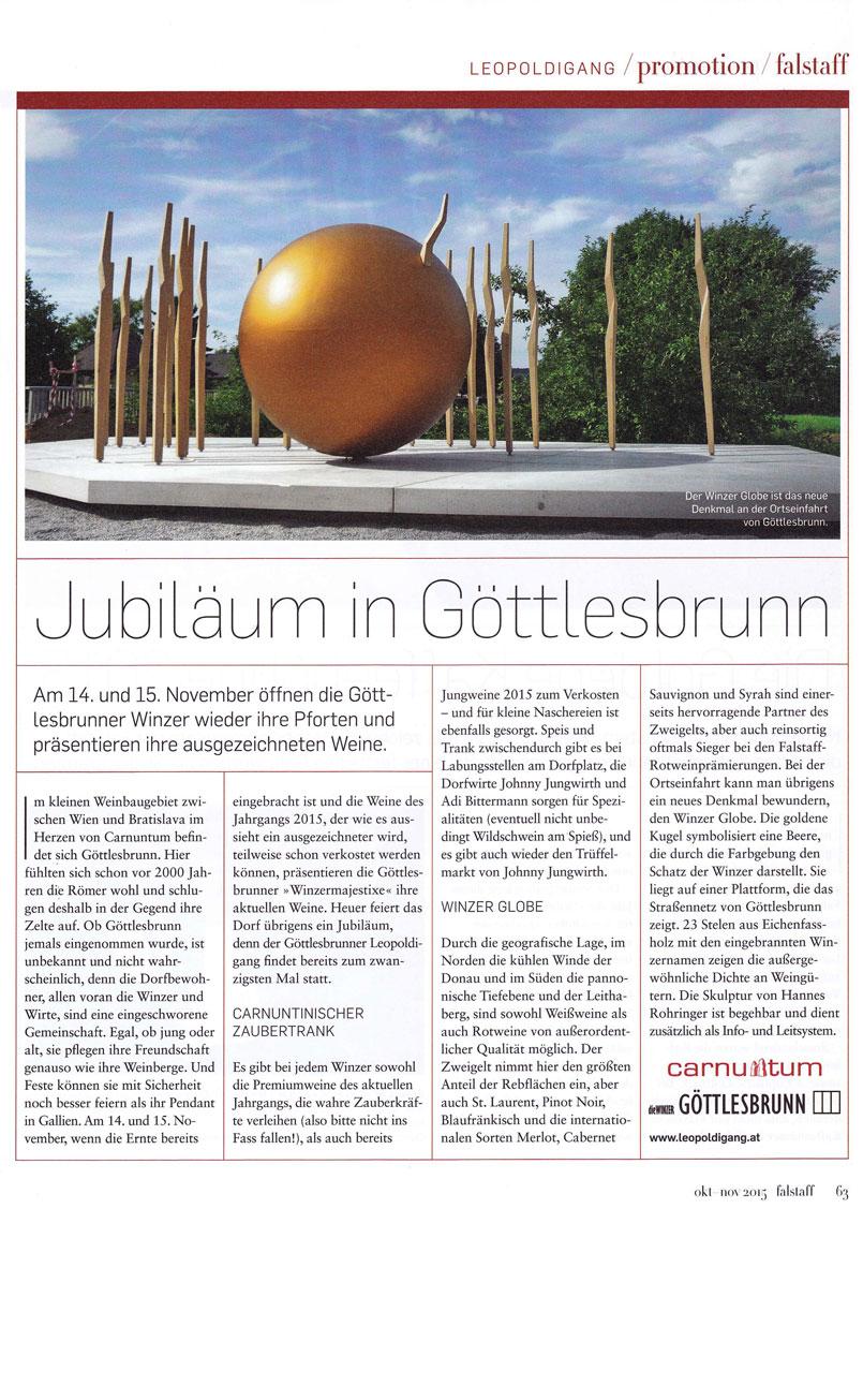 The Winzer  Globe, Falstaff Promotion, 20 Jahre die Winzer Göttlesbrunn.