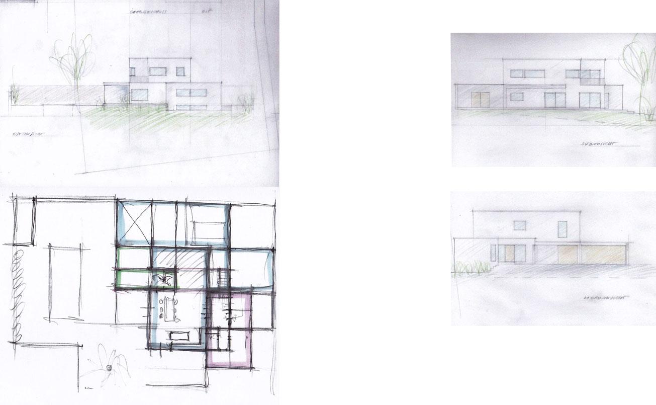 Konzeptentwurf und Maßstabgetreue Entwurfzeichnungen Ost, Süd und Westseite vom Haus am Neusiedlersee