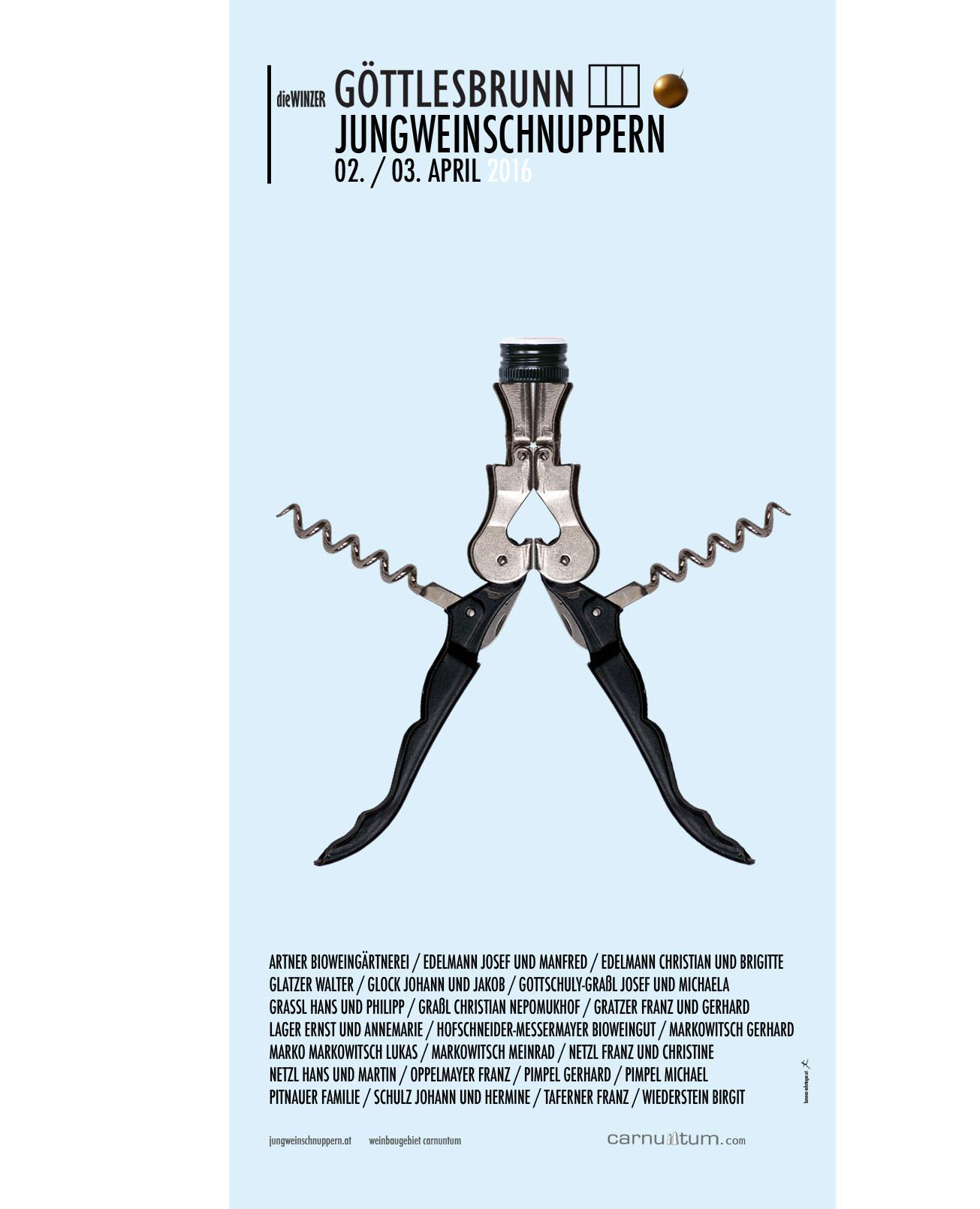 Jungweinschnuppern winzer Göttlesbrunn Carnuntum, Plakat.