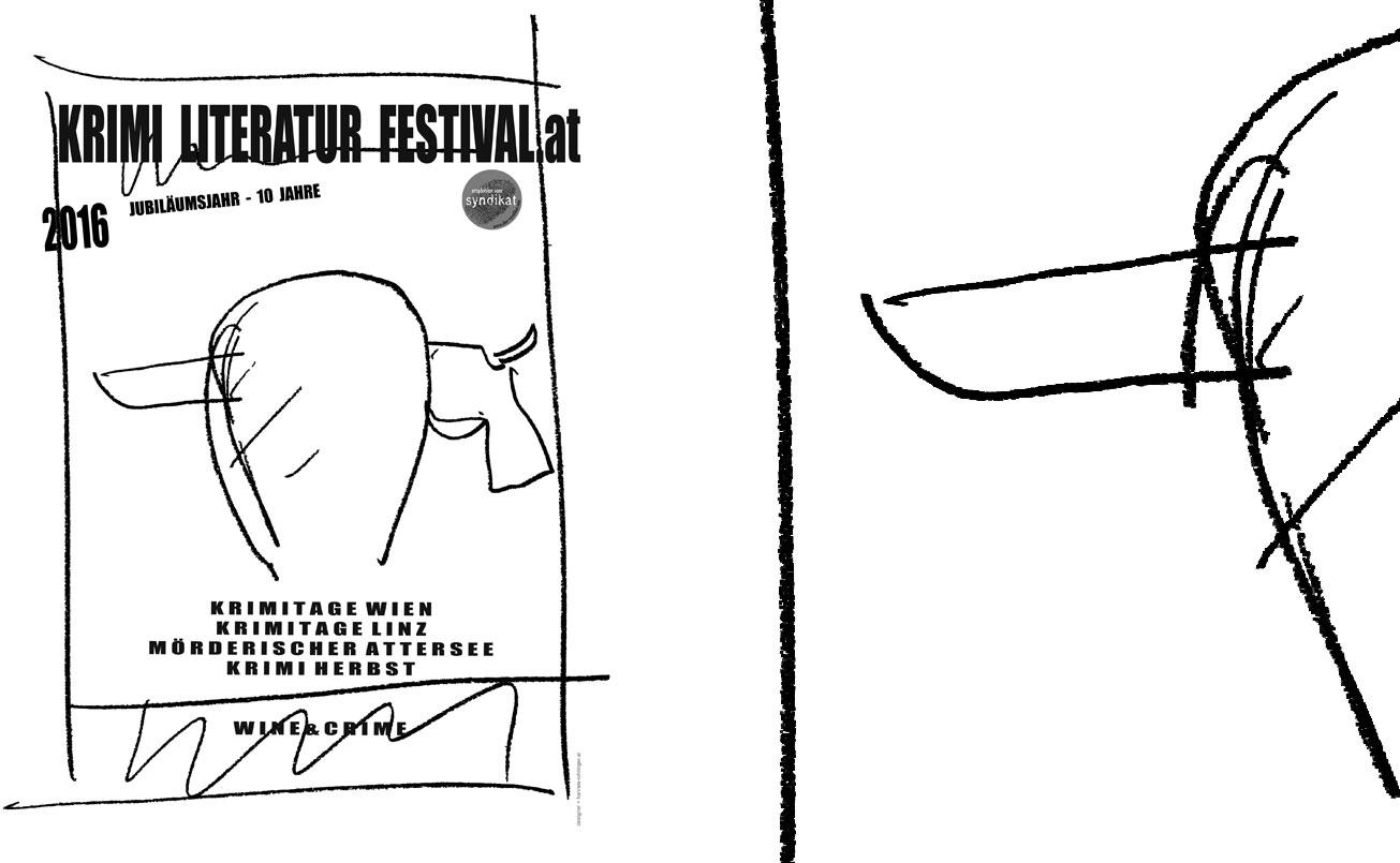 Krimi Literatur Festival 2016. Jubiläumsjahr , Plakat mit Erstentwurfskizze vor 10 Jahren.