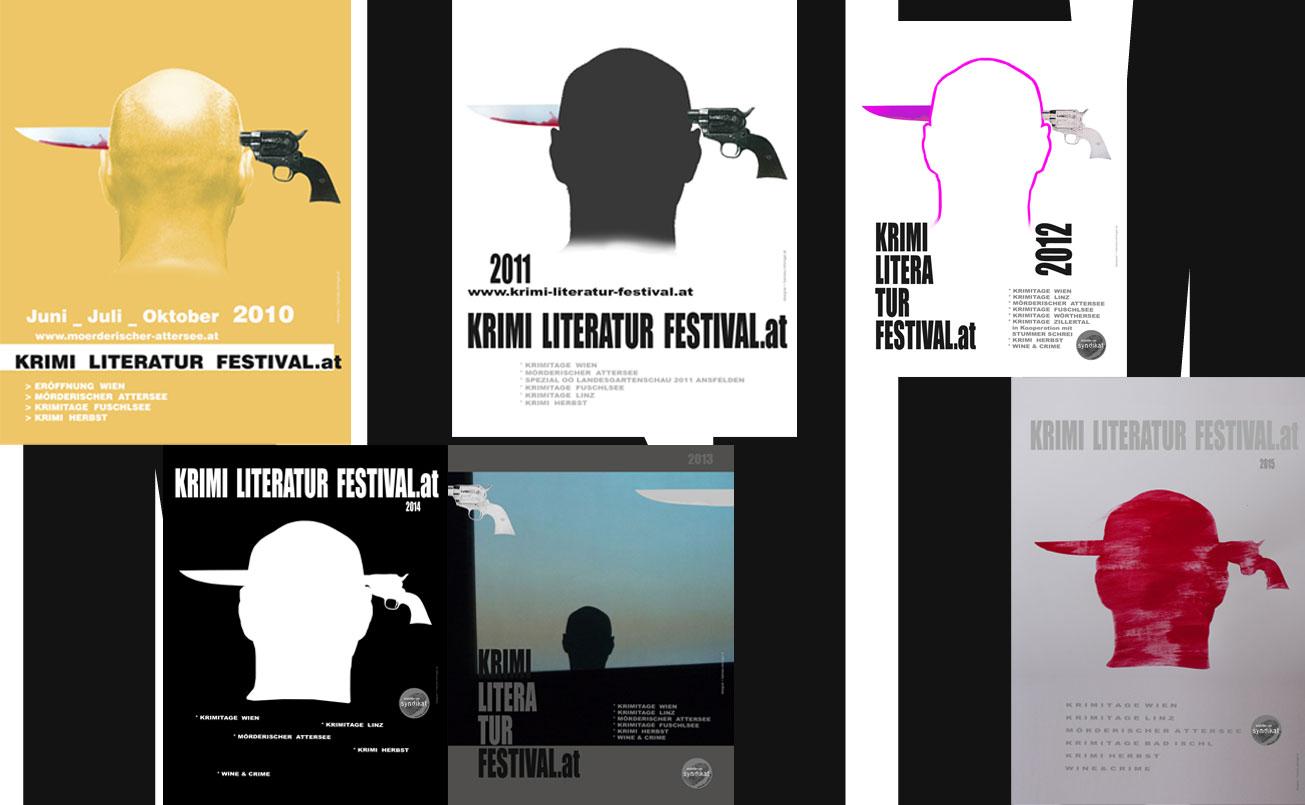 Plakatwand, Auswahl aus 10 Jahren Krimi Literatu Festival.