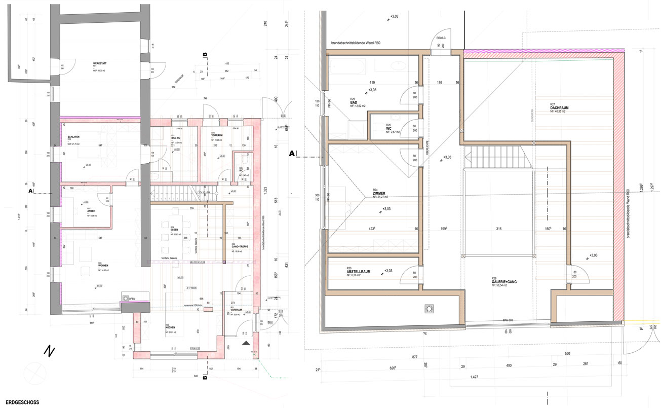 Landhof, Grundrissplanung Erdgeschoss und Obergeschoss.