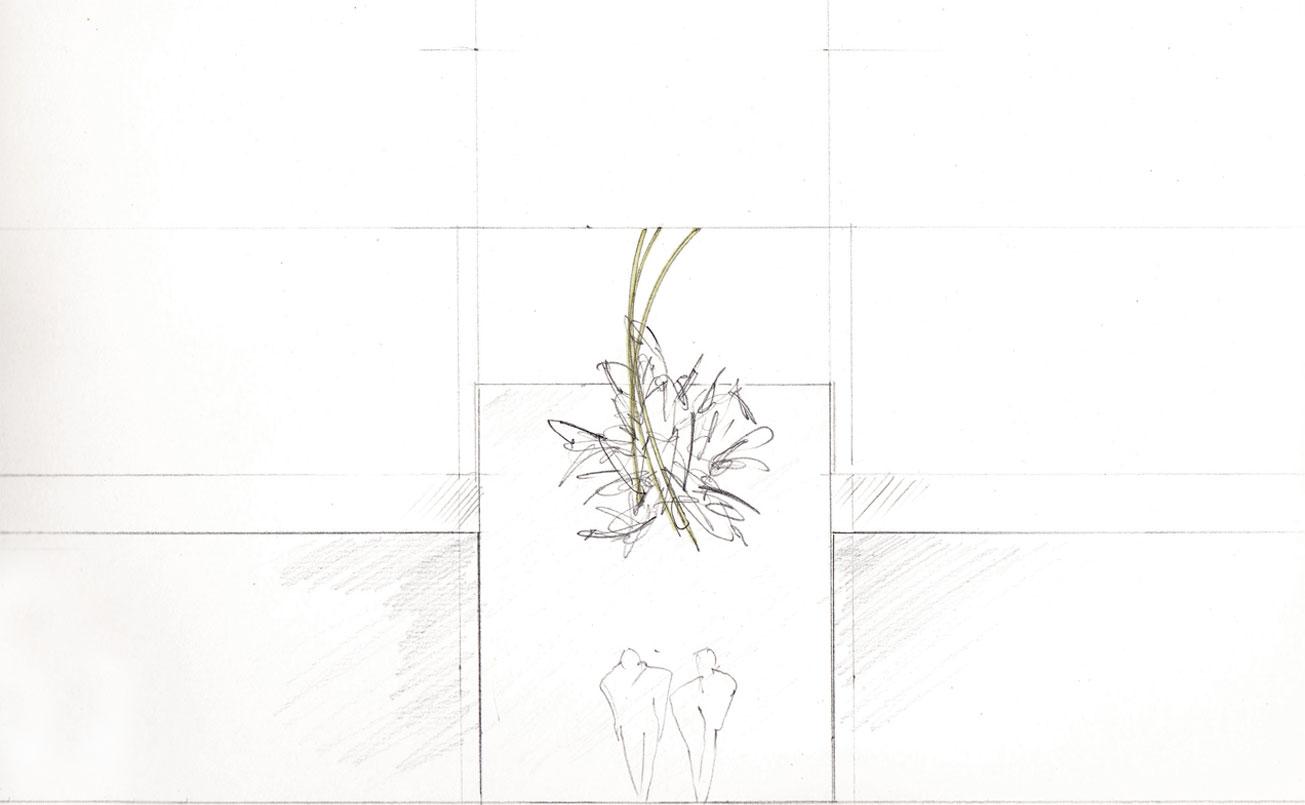 Erstentwurf- Zeichnung, Figuren mit Lichtbögen.
