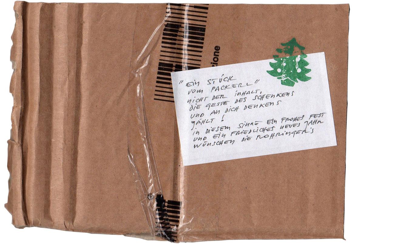 Weihnachts und Neujahrskarte, Restkarton und Stempel, 15 / 10,5 cm, Rückseite mit Postversand.