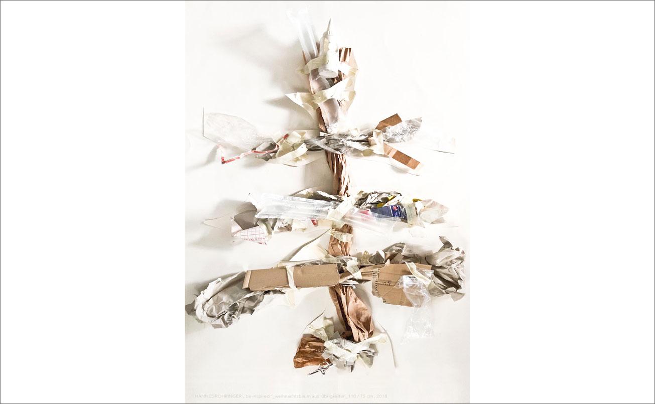 Weihnachtsbaum aus Übrigkeiten, 110 / 75 cm, 2018