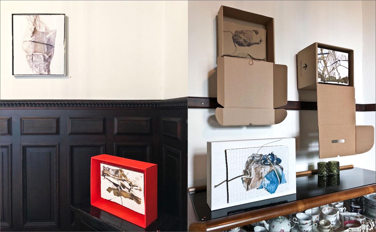 Arbeiten aus der Serie BOX, im kleinen Salon