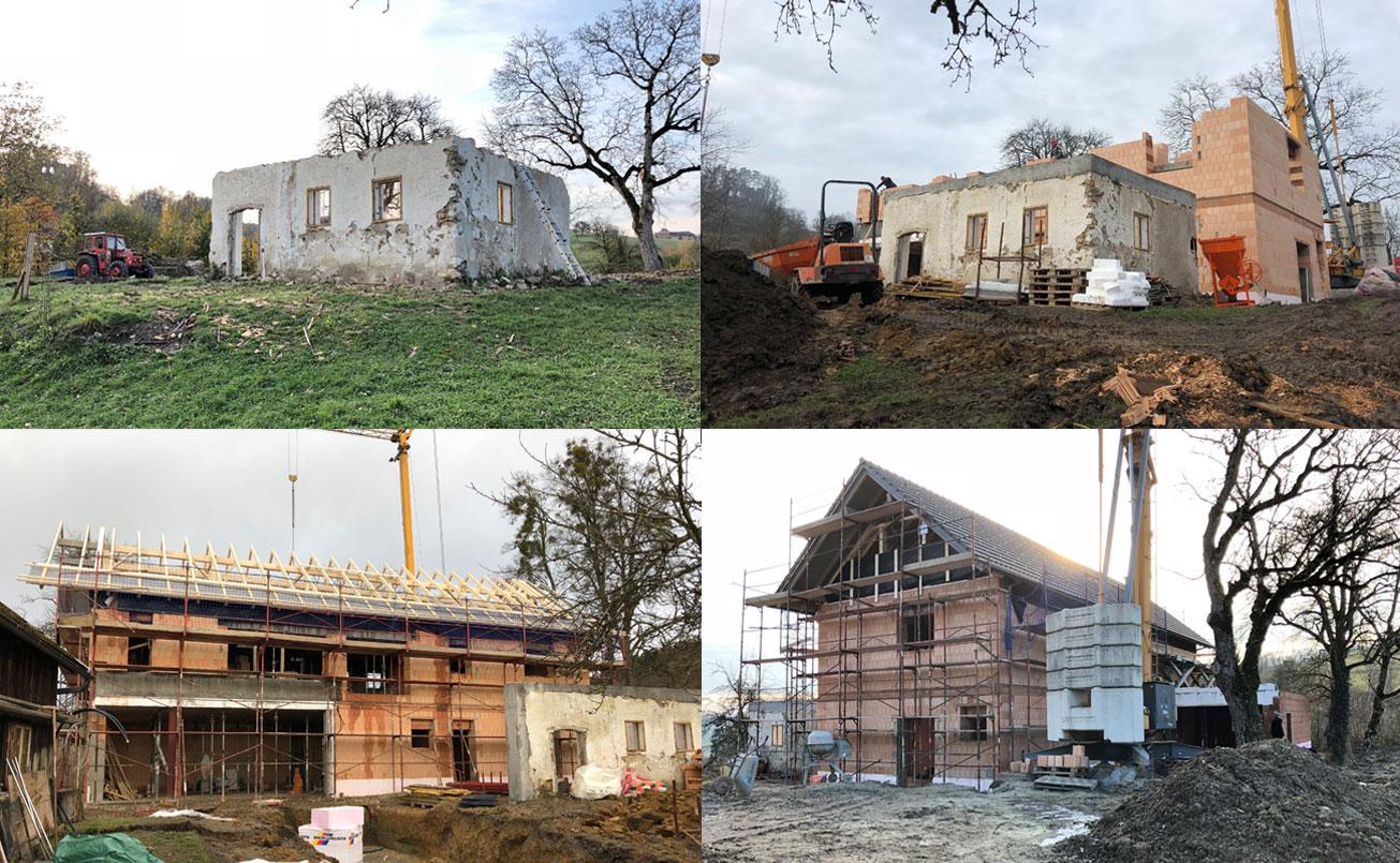 Situation Steinhausrest und Errichtung des Neubaus.