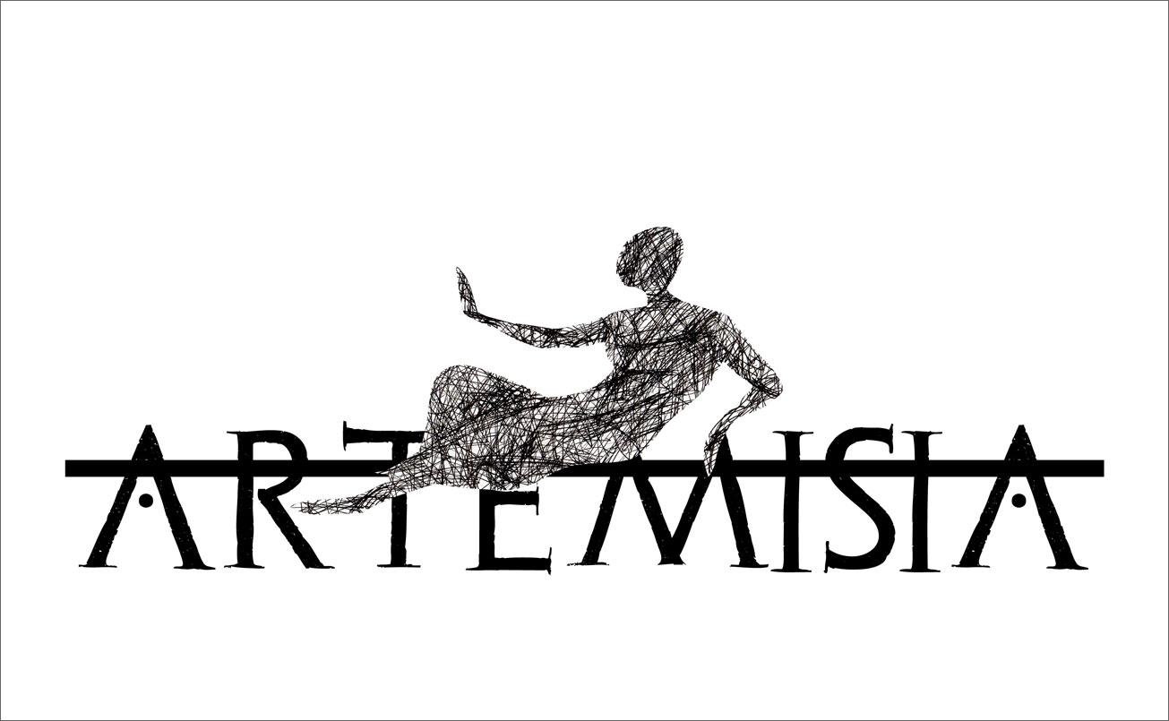 Göttin Artemis, gezeichnet, auf Schriftornament verweilend.