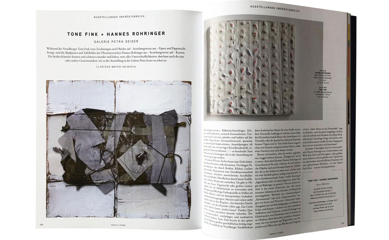 Doppelseite Beitrag_Tone Fink - Hannes Rohringer, zur Ausstellung in der Galerie Petra Seiser