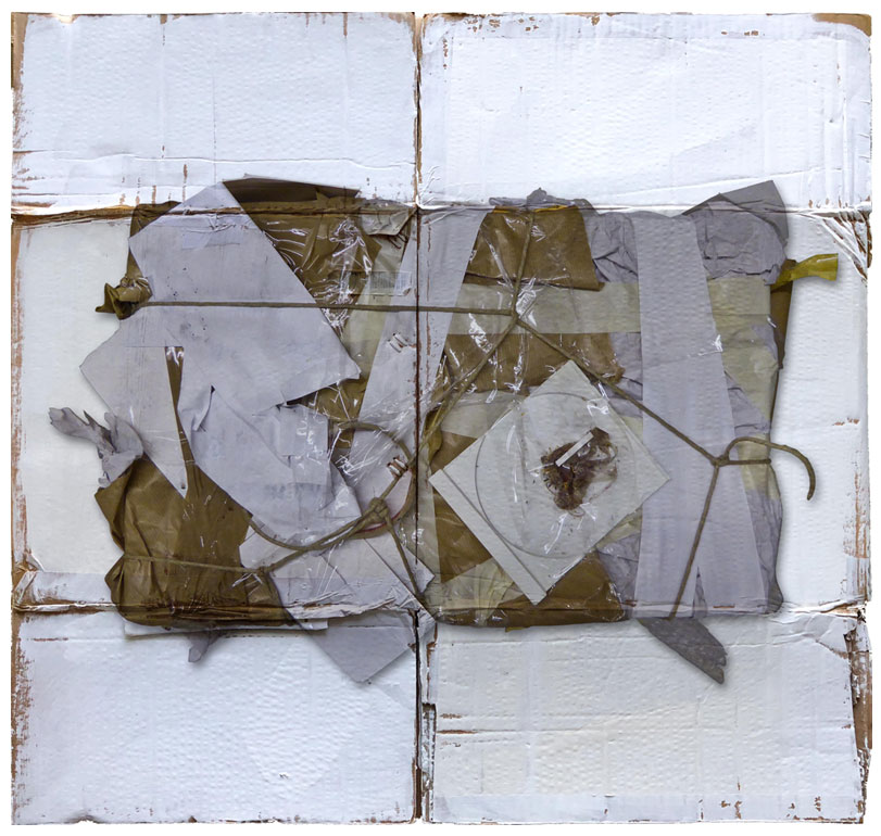 Abgebildete Arbeit im Beitrag: Titel - DNA_72x68 cm, Gesso, Fine Art Prin, Acryl auf Kartonrest