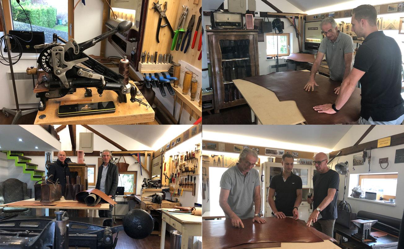 Im Atelier des Künstlers seiner Zunft, bei der Lederauswahl und Detailbesprechung.